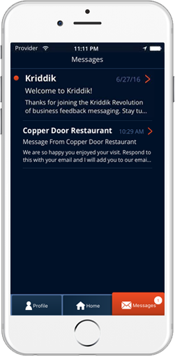 Direct Messaging with Businesses from the Kriddik Mobile App