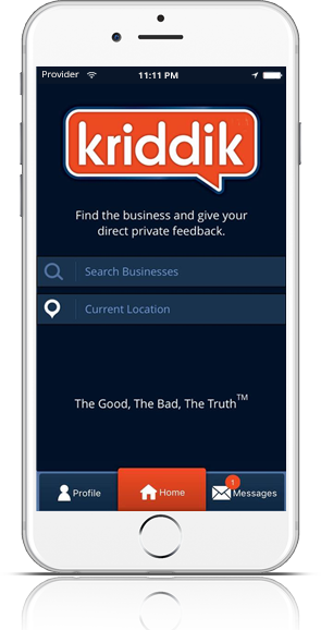 The Kriddik Mobile App lets you search all businesses!